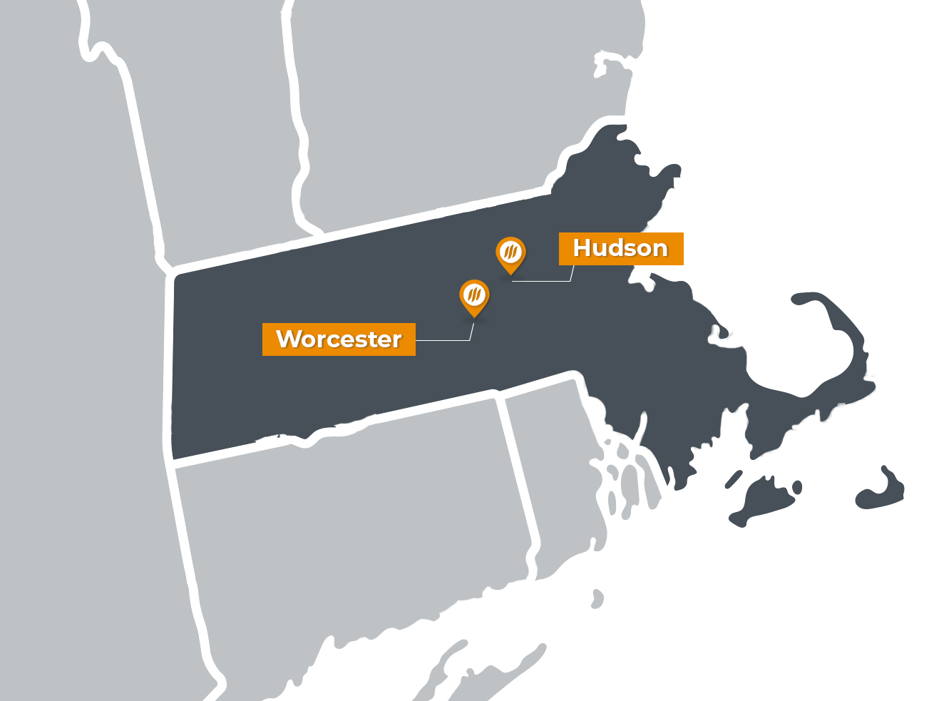 Map of Massachussets with pins for Workers PlanIt locations in Hudson and Worcester